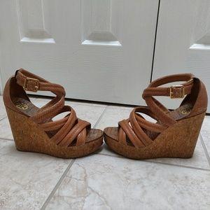 ❤️Tory Burch Leathe Cork Wedge Sandals